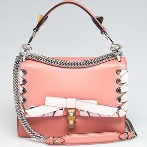 NEW FENDI KAN Leather Macaron Bag With Bow Cards